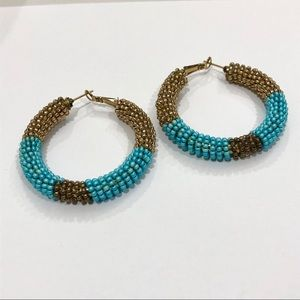 Turquoise and Gold Bead Woven Hoops